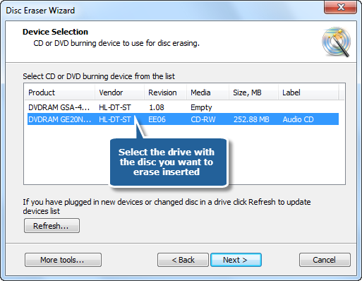 Select One of Usable Erasing Drives