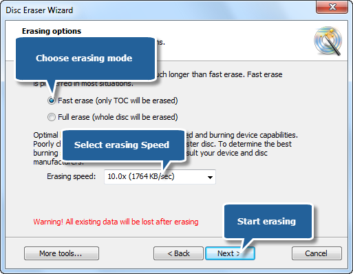 Select Erasing Types and Speed