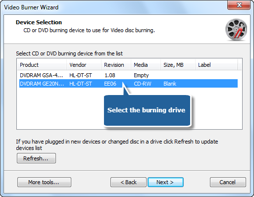 Select One of Usable Burning Drives